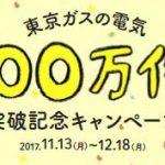 【サービス拡充】東京ガスの電力販売好調!100万件突破記念キャンペーン