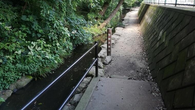 ザリガニ釣りができる竹間沢こぶしの里は、湧水が流れる小川